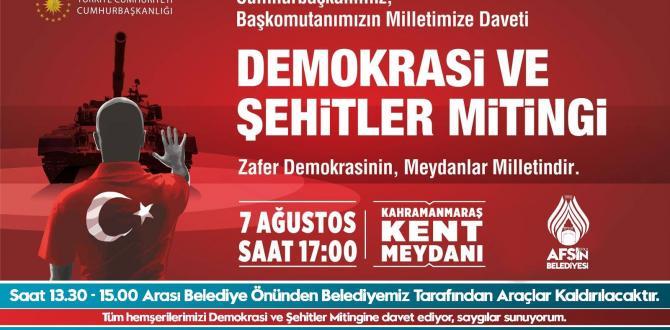 DEMOKRASİ VE ŞEHİTLER MİTİNGİ İÇİN KAHRAMANMARAŞ'A ARAÇLAR KALDIRILACAK