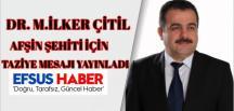 Milletvekili İlker Çitil Şehit Durmuş Polat İçin Taziye Mesajı Yayınladı