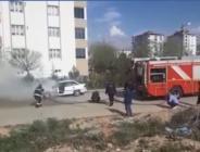 Afşin'de Park Halindeki Araç Yandı.