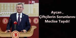 Aycan ,Çiftçilerin Sorunlarını Meclise Taşıdı!