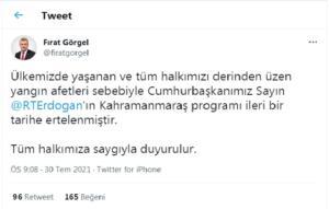 fırat görgel 300x191 Cumhurbaşkanı Erdoğanın Kahramanmaraş Programı İptal Edildi.